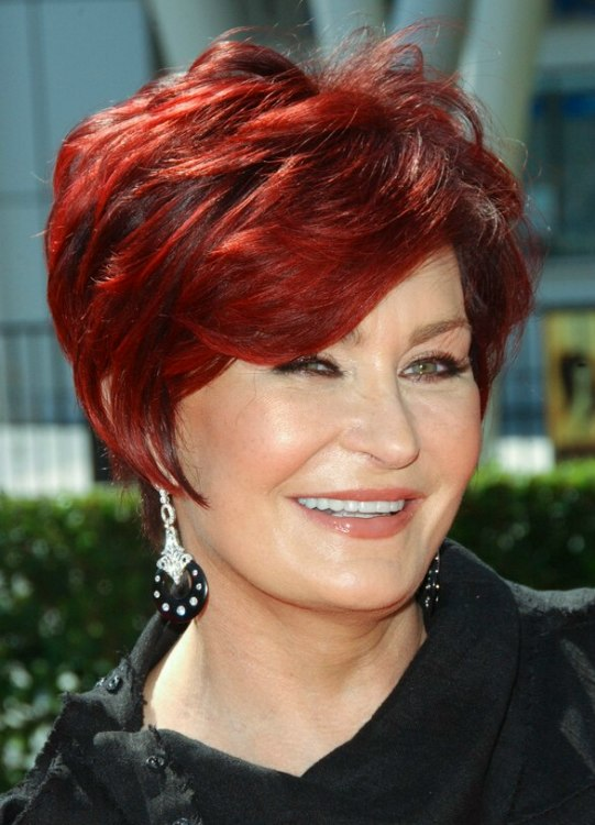 Sharon stone with a shorter hairstyle that is easy to do yourself sharon osbourne with short red hair solutioingenieria Gallery