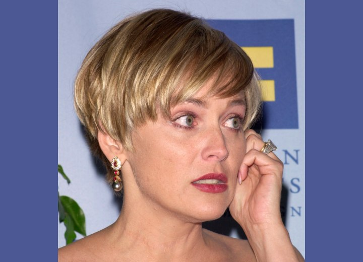 Sharon Stone - Hair in a pixie with tapered nape