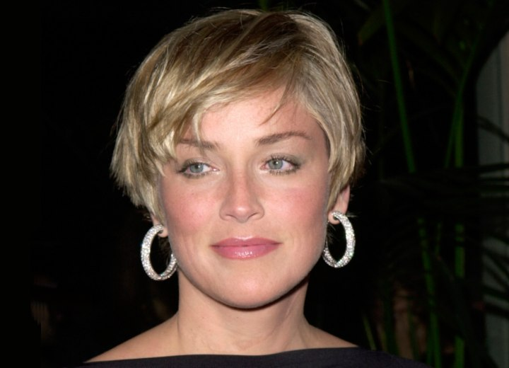 Sharon Stone with trendy short hair
