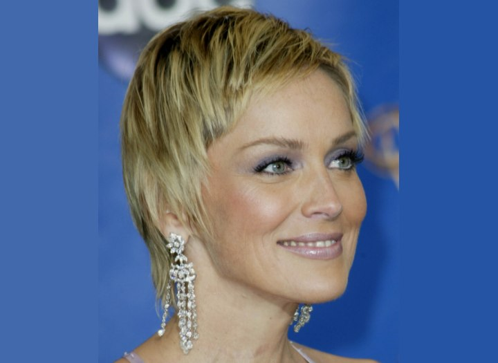 Sharon Stone with smooth short hair