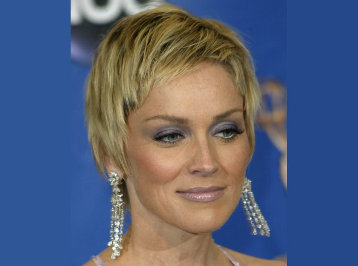 Sharon Stone - SHort razor cut hair