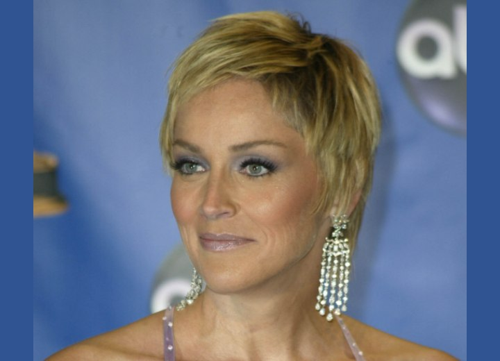 Short hairstyle for 40 plus women - Sharon Stone