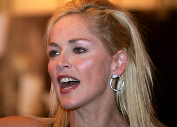 Side view of Sharon Stone's hair