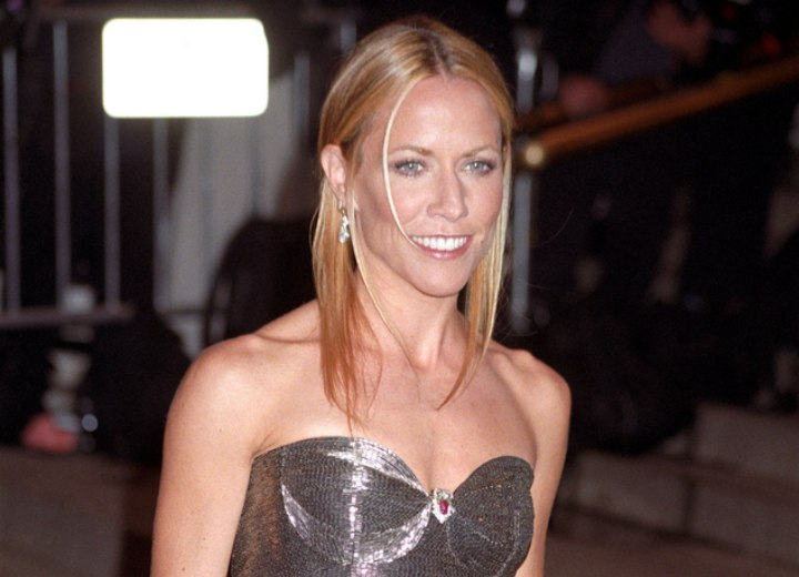 Sheryl Crow wearing a silver strapless dress