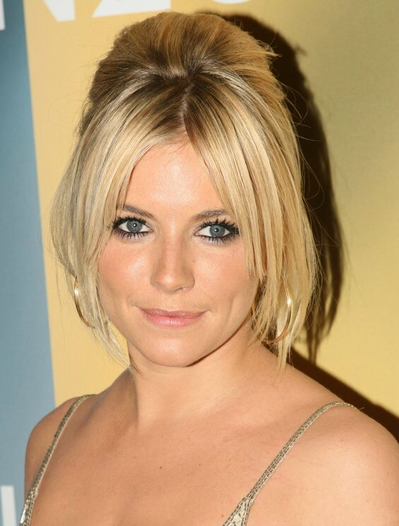Sienna Miller Wearing Her Hair Up And With Straight Smooth Hair On