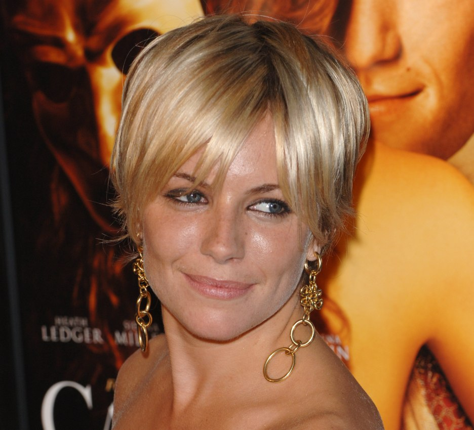 Sienna Miller | Shaggy pixie hairstyle, razor cut and with bangs