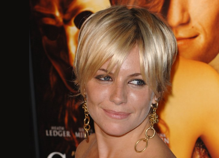 Short haircut with bangs - Sienna Miller