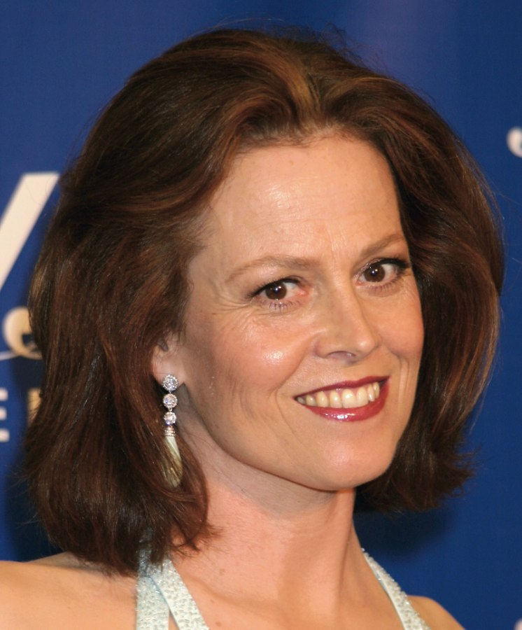 sigourney weaver's almost one length bob with the tips textured