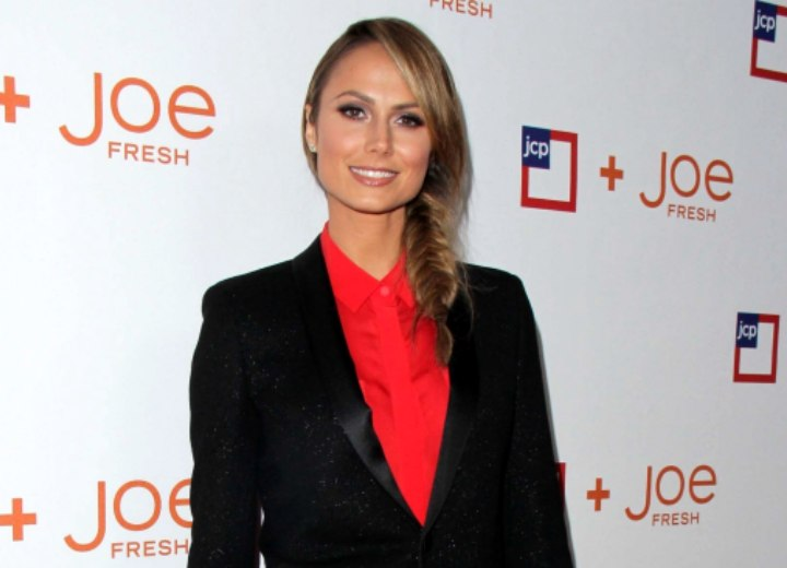 Stacy Keibler wearing a collared blouse and blazer