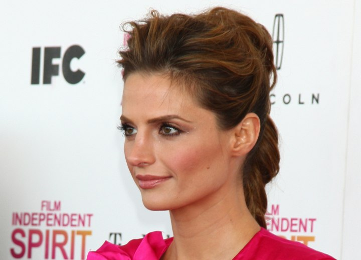Updo with a ponytail - Stana Katic