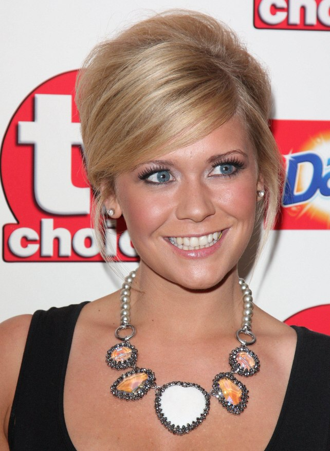 Suzanne Shaw Wearing Her Hair Up And With A Smooth Satiny