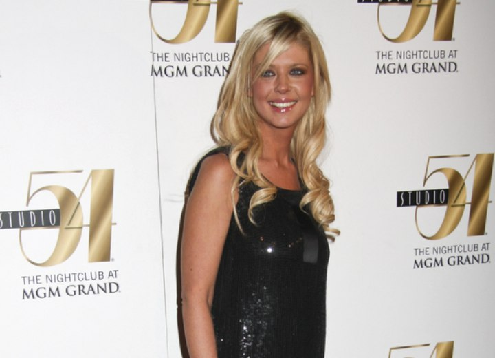 Tara Reid wearing a black sequined dress
