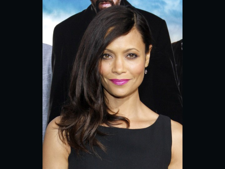 Hair and dress for a Thandie Newton look