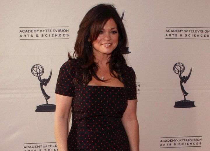 Valerie Bertinelli look with long hair and a dress
