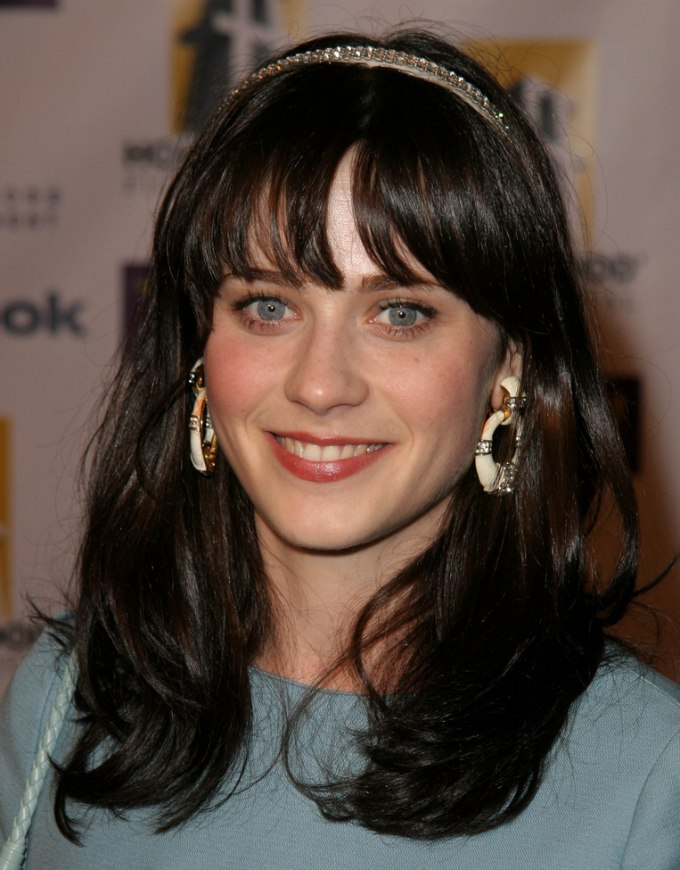 Zooey Deschanel With Hair Below The Shoulders In An