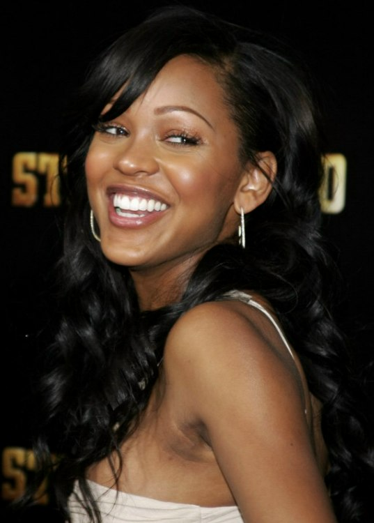 meagan good long hairstyle with half coilf for black hair