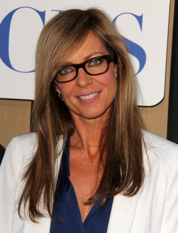 Hairstyles For Long Hair With Glasses : Allison Janneys professional look with glasses and long straight hair