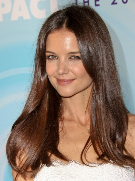 Katie Holmes With Long Chestnut Hair Flowing Below Her