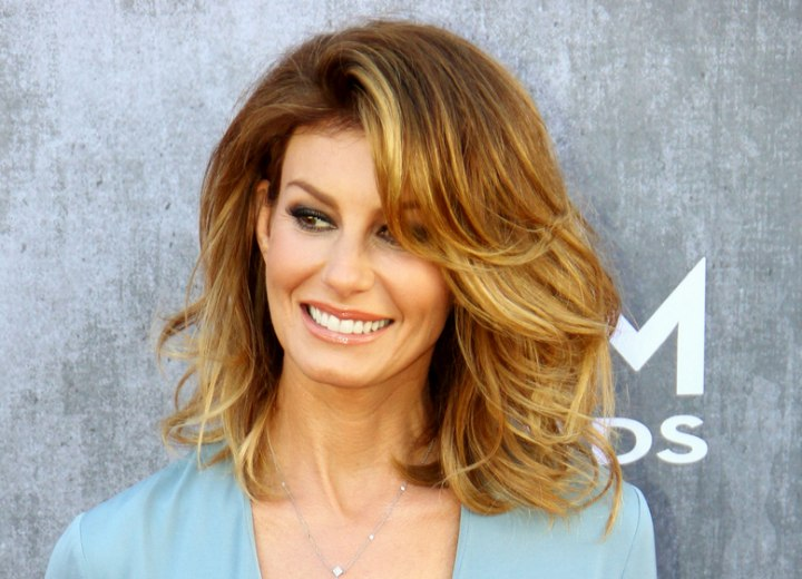 Faith Hill Voluminous Medium Length Hairstyle With An Ombre Color