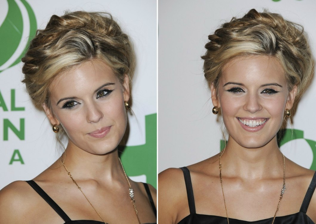 maggie grace's hair worn up and sarah roemer's hair in long layers