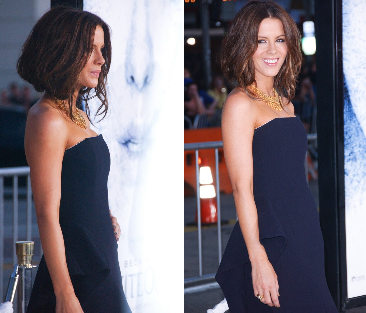 Kate Beckinsale S Hair Secured Under To Imitate A Plunged
