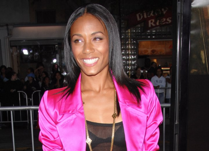 Jada Pinkett Smith with long straightened hair