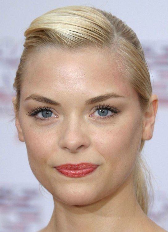 Jaime King With Her Hair Pulled To A Ponytail Short