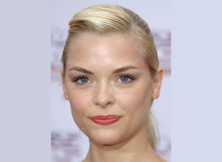 Jaime King's hair styled with gel