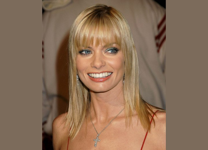 Jaime Pressly's long hairstyle with bangs