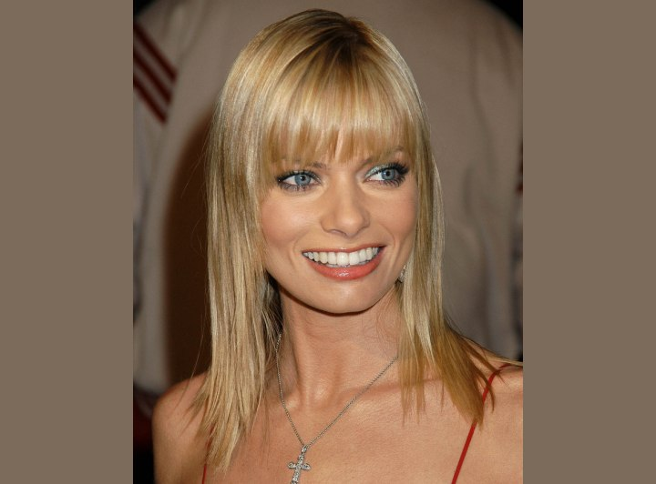 Jaime Pressly's long hair with angled sides