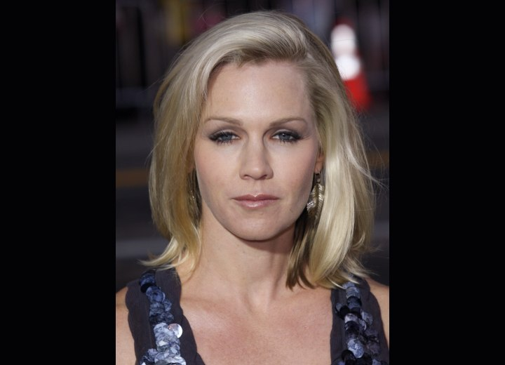 Jennie Garth's hair styled with smoothness