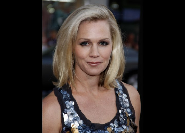 Close up photo of Jennie Garth's hairline