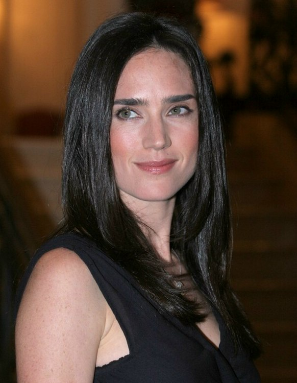 Jennifer Connelly With Her Long Raven Black Hair Styled To