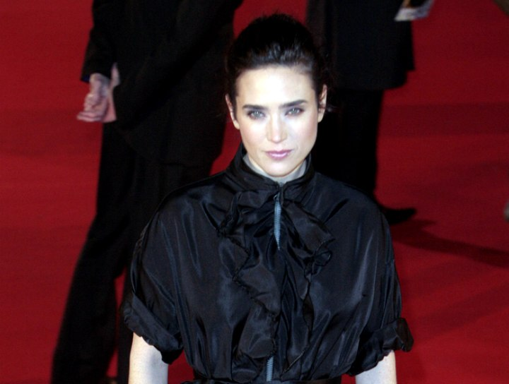 Jennifer Connelly wearing a black silk dress