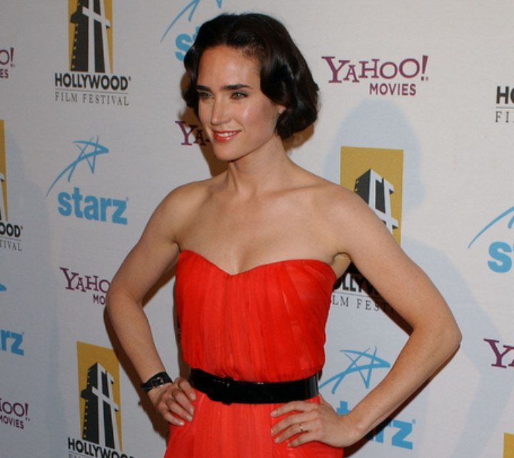 Jennifer Connelly wearing a red dress