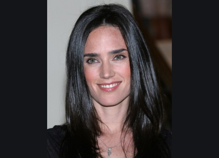 Jennifer Connelly's healthy and shiny black hair