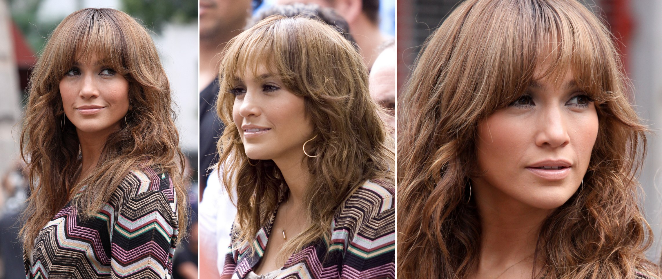 Jennifer Lopez wearing her hair long with bangs