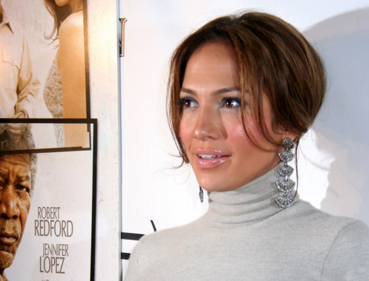 Jennifer Lopez with her hair in a fashionable updo