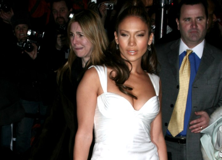 Jennifer Lopez wearing her hair partly up