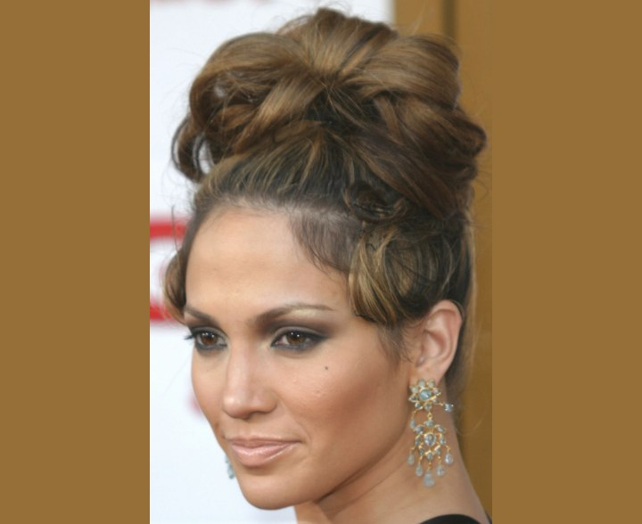 Close up photo of Jennifer Lopez hair and updo