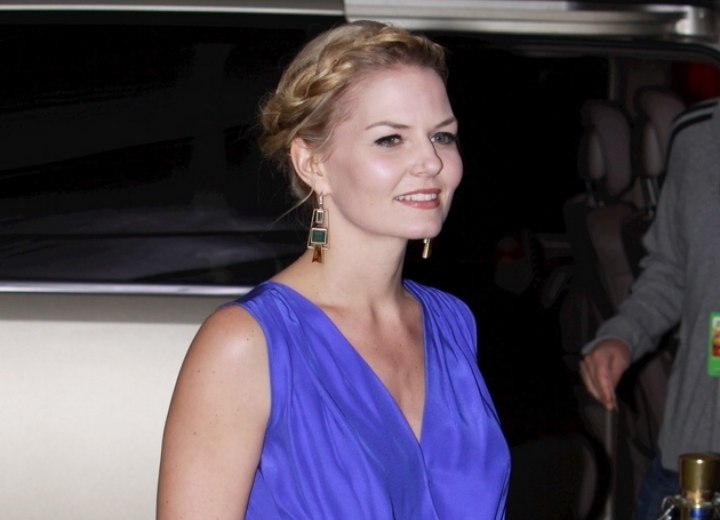 Jennifer Morrison wearing a cornflower blue dress