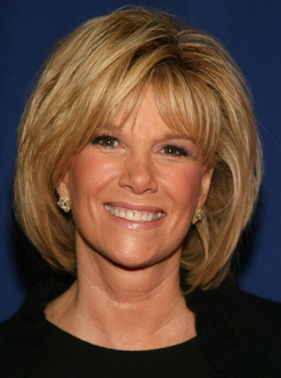 Joan Lunden With Her Hair In A Neck Length Semi Bob