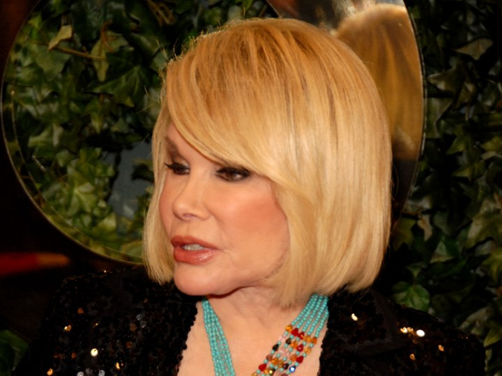 Joan Rivers wearing her hair in a long bob