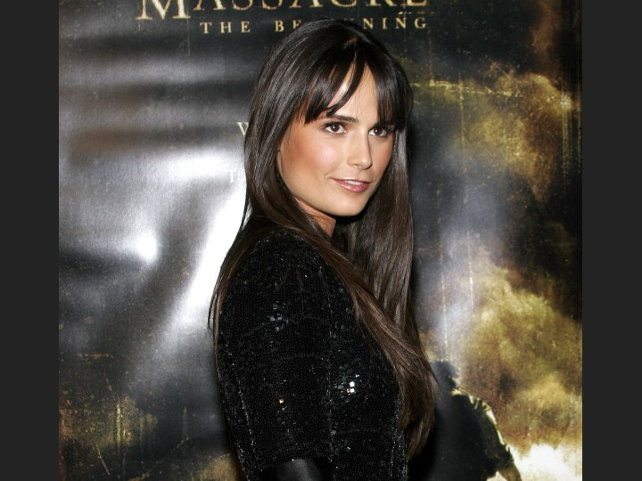 Jordana Brewster with long and shiny black hair