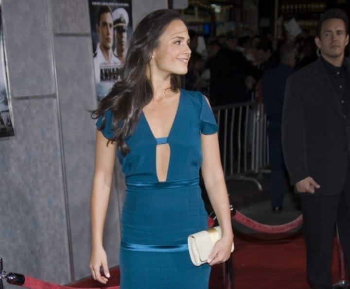 Jordana Brewster wearing a long blue dress
