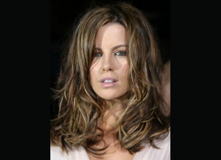 Kate Beckinsale with long shuffled hair