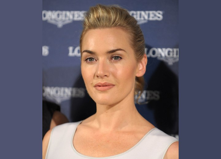 Kate Winslet wearing her hair in a simple updo