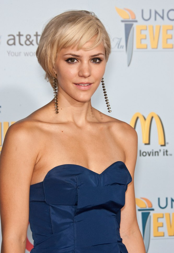 Katharine Mcphee S Short Pixie Hairstyle With The Ears Covered And Rose Byrne S Hair With Long Lengths