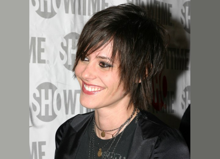 Side view of Katherine Moennig's shaggy short hair