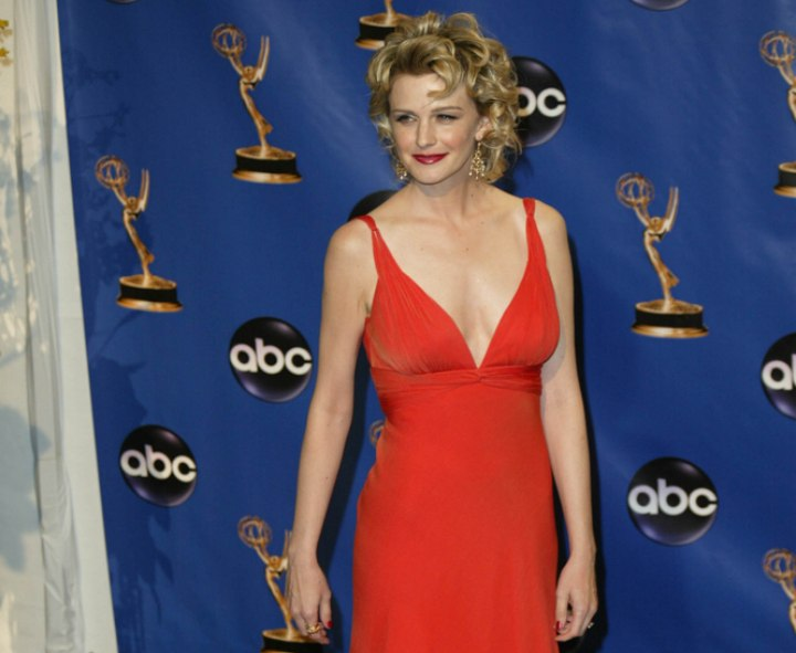 Kathryn Morris wearing a red gown